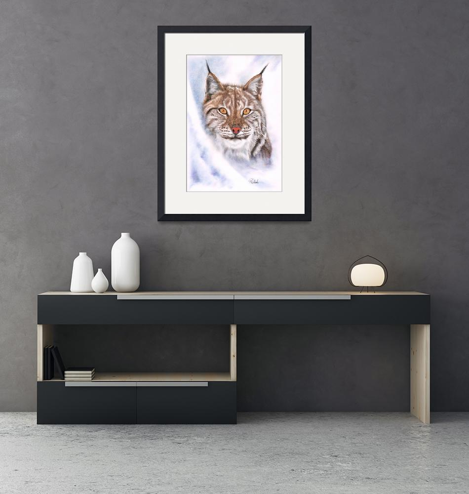 """""""Snowcat Lynx coloured pencil drawing""""  (2021) by MightyFineArt"""