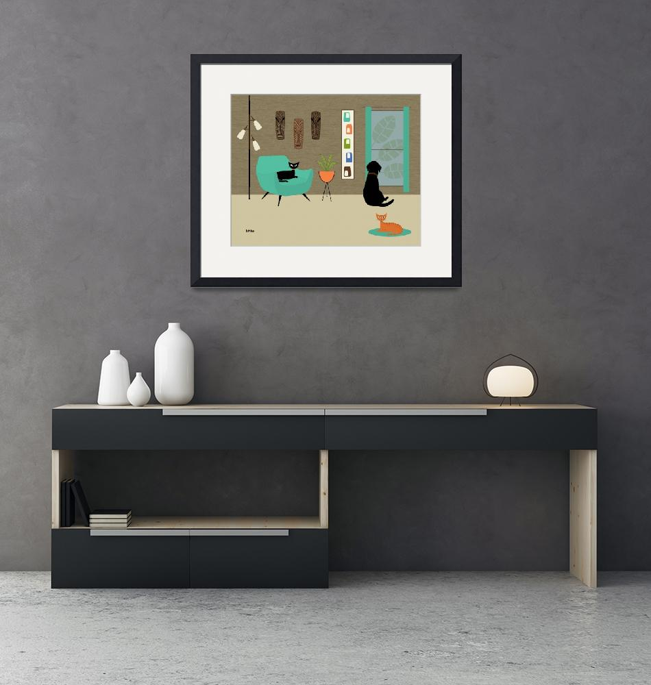 """""""Mid Century Room with Labrador 1""""  by DMibus"""