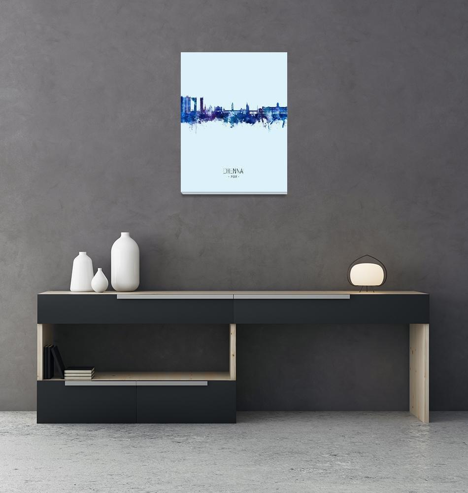 """Chennai Skyline India""  (2021) by ModernArtPrints"