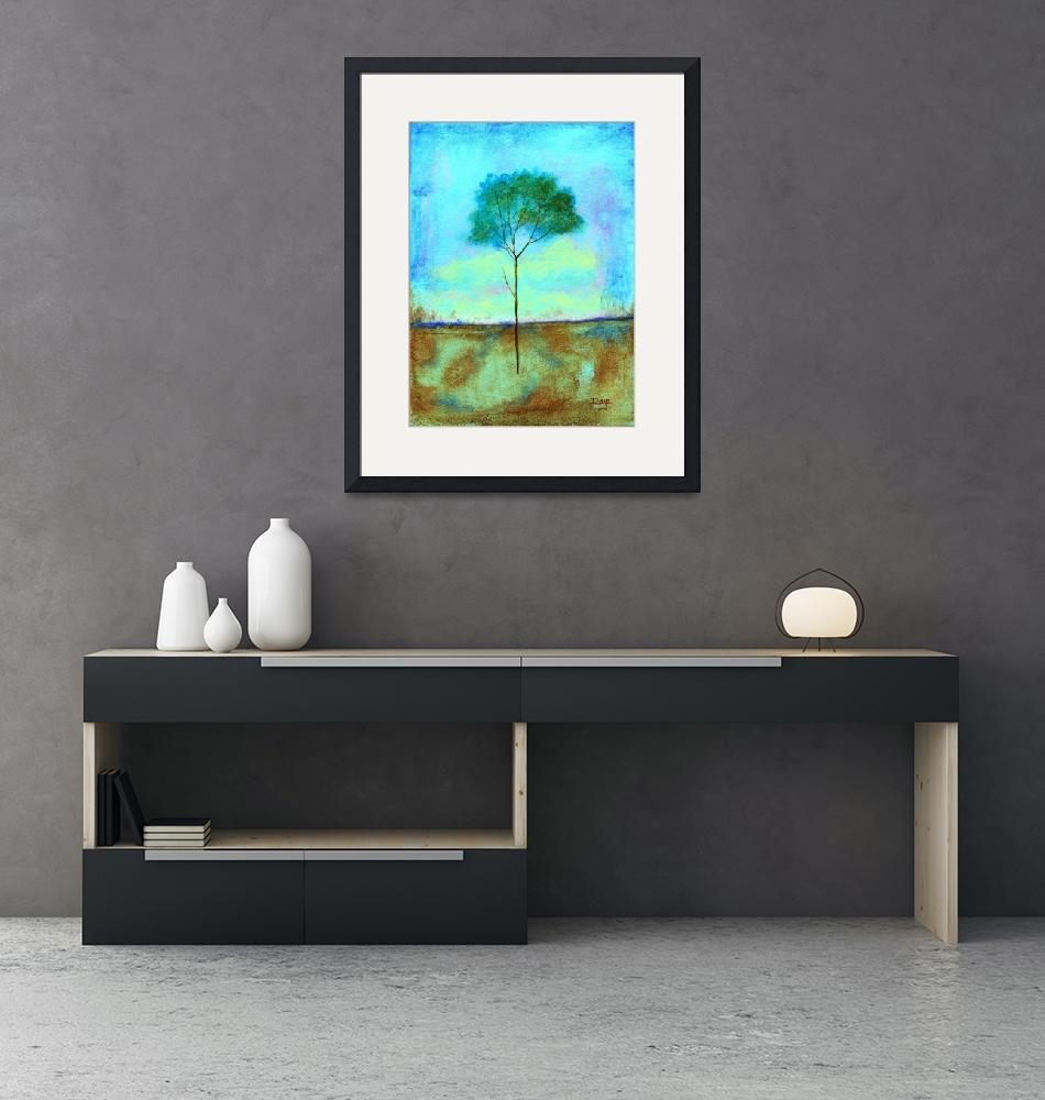 """Individual Lone Skinny Tree Abstract Landscape Art""  (2009) by Itaya"