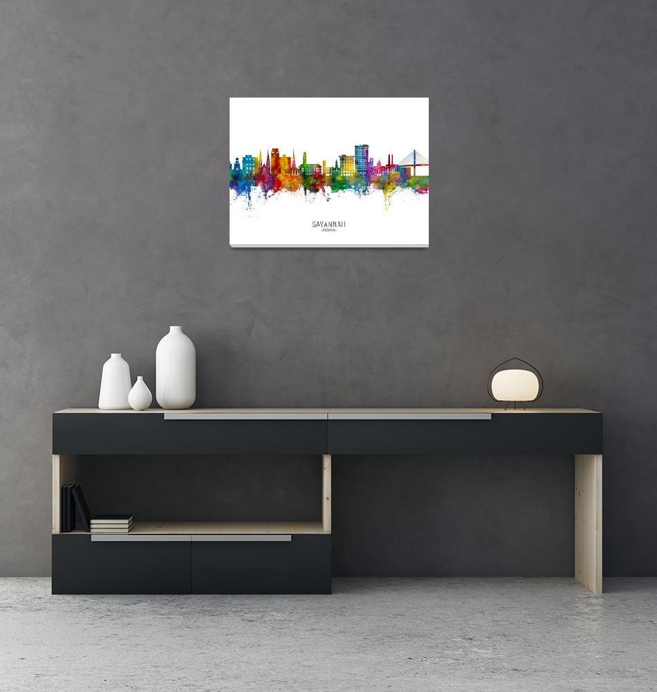 """Savannah Georgia Skyline""  (2021) by ModernArtPrints"