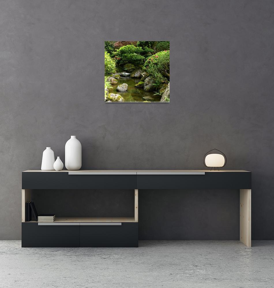 """Still waters ~ Japanese garden""  (2008) by inkandbrushcreations"