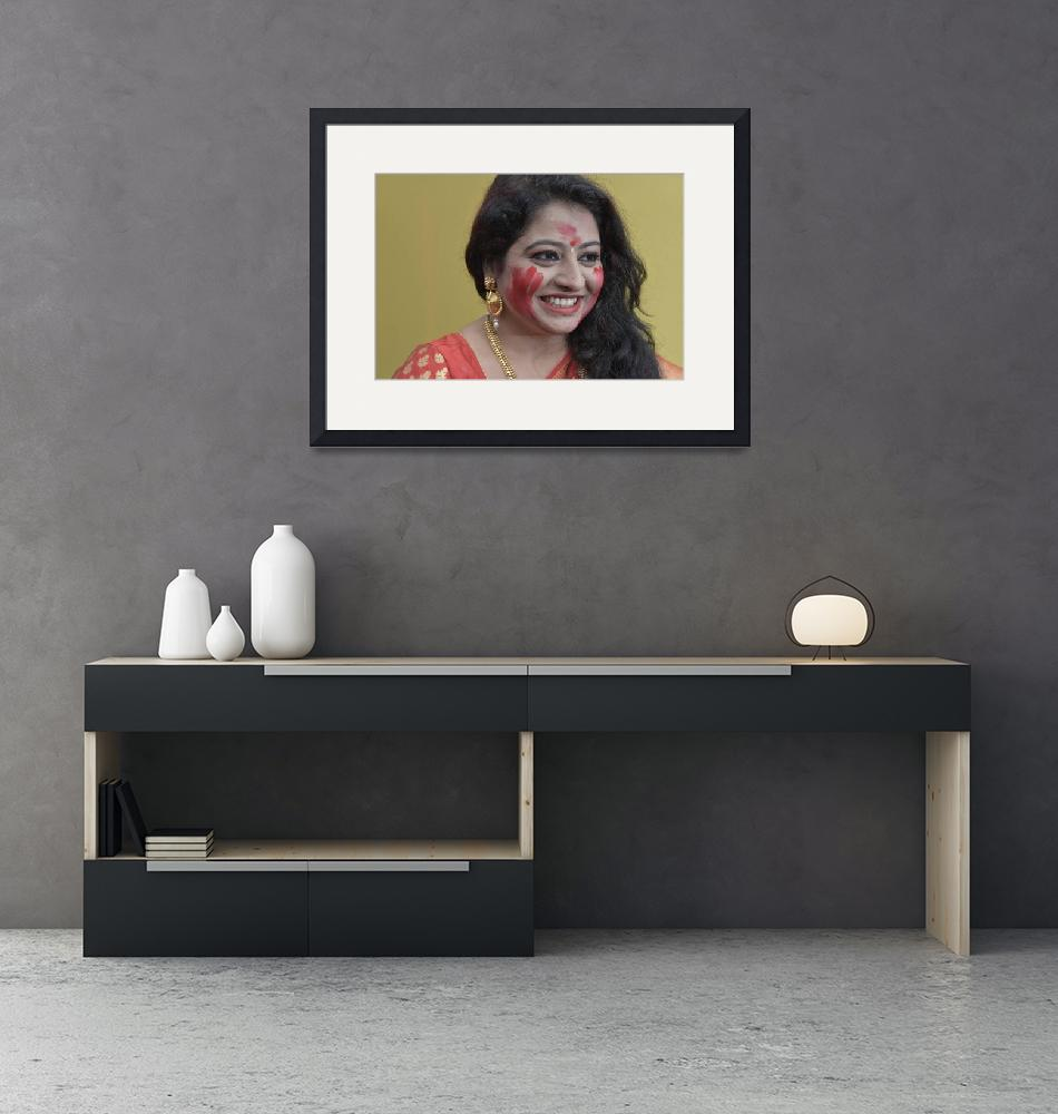 """""""A Sexy Bengali Woman Smiling in Red Saree""""  (2016) by shyamal"""