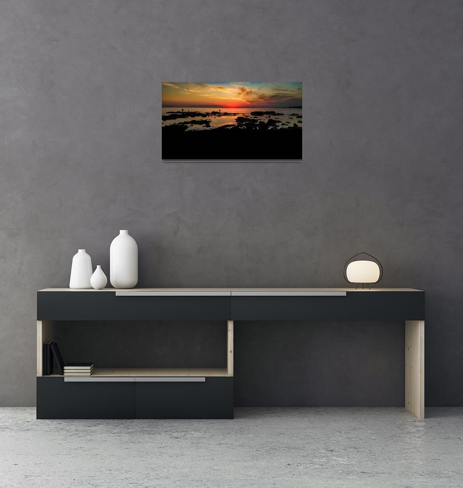"""Panoramic Sunset Coastal Scene, Montevideo Uruguay""  (2020) by danfleitesart"