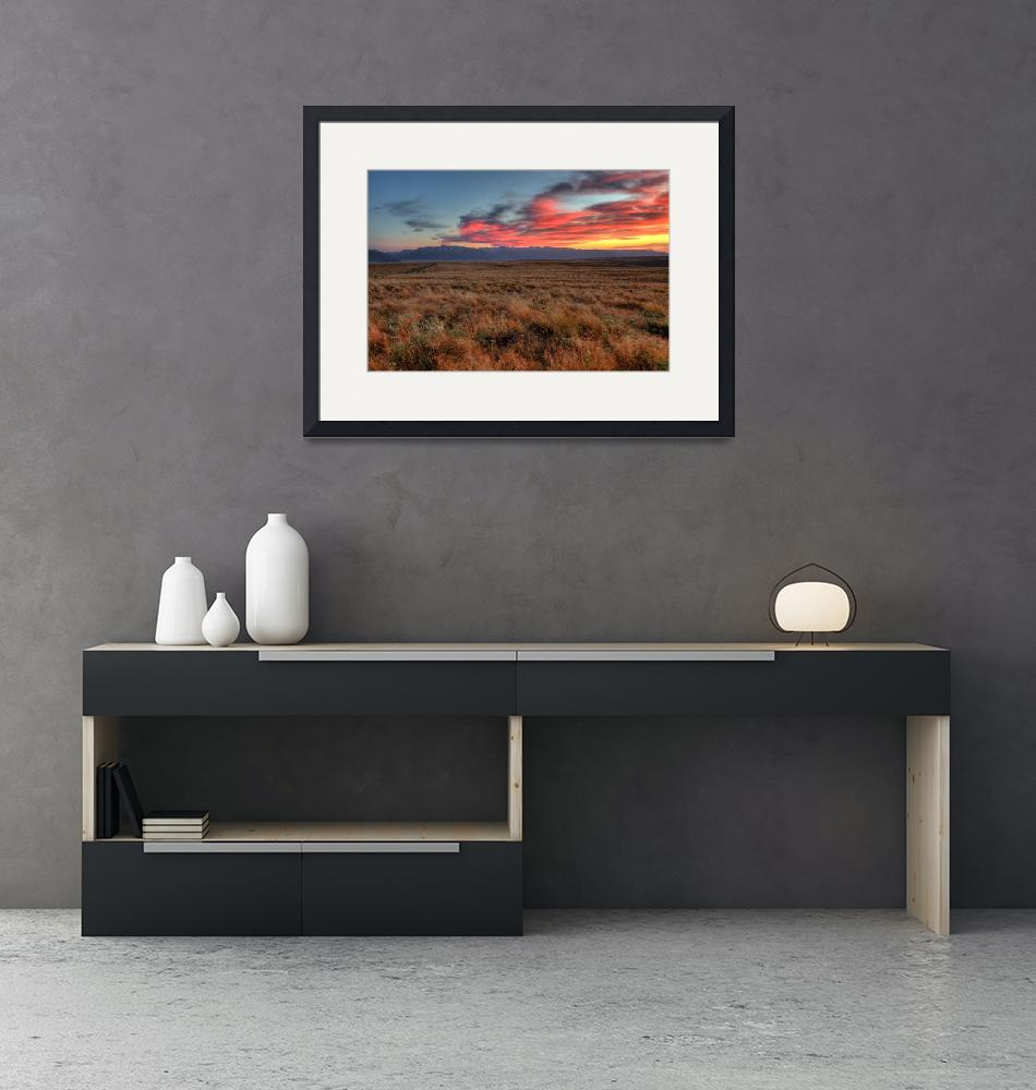 """""""Zumwalt Prairie and Wallow Mountains Sunset_12x18""""  (2012) by aphimages"""