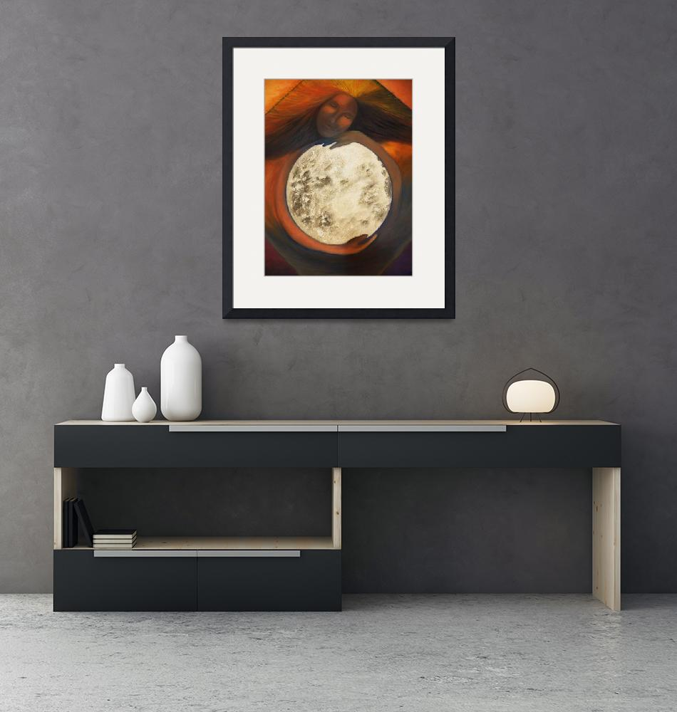 """""""Woman and moon""""  (2011) by Droopy"""