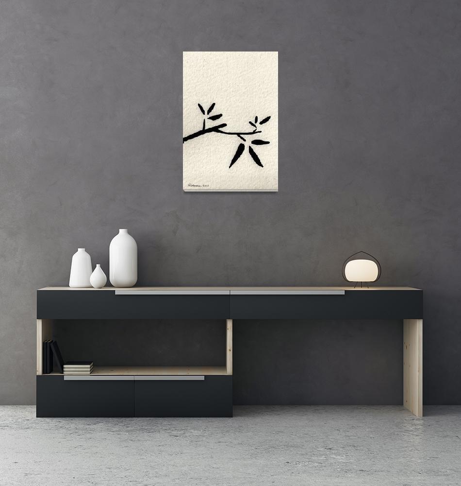 """""""Zen Sumi Antique Branch 2a Black Ink on Watercolor""""  (2011) by Ricardos"""