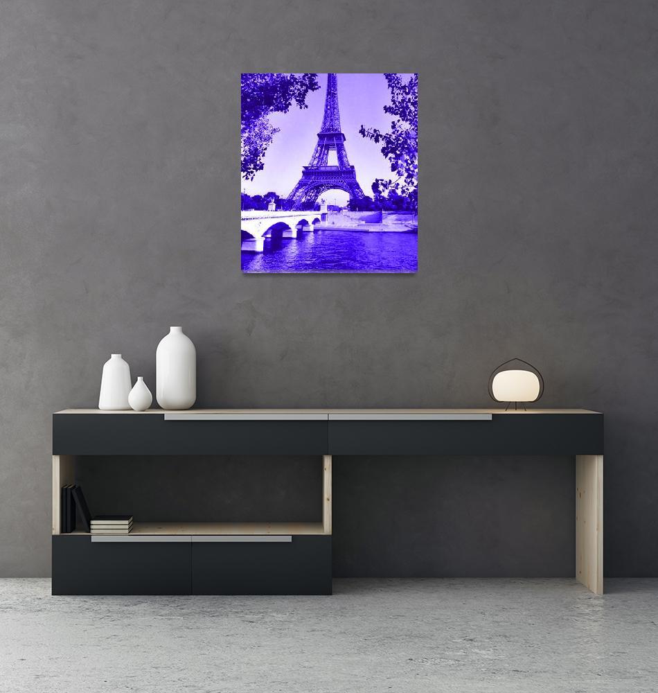 """""""Eiffel Tower Seine River Indigo Cropped""""  (2013) by TheNorthernTerritory"""