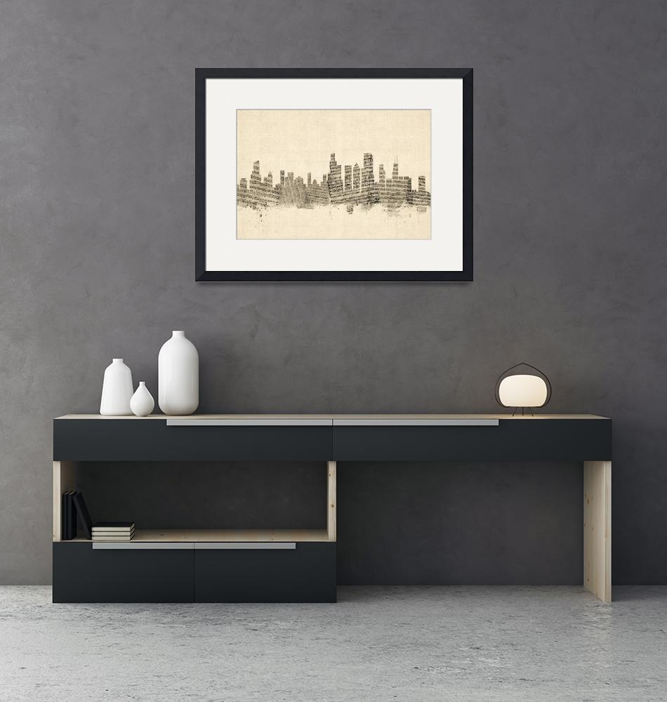 """Chicago Illinois Skyline Sheet Music Cityscape""  (2014) by ModernArtPrints"