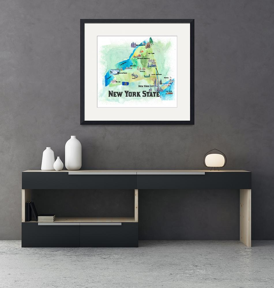 """""""USA_New_York_State_Travel_Poster_Map_With_Highligh""""  by arthop77"""
