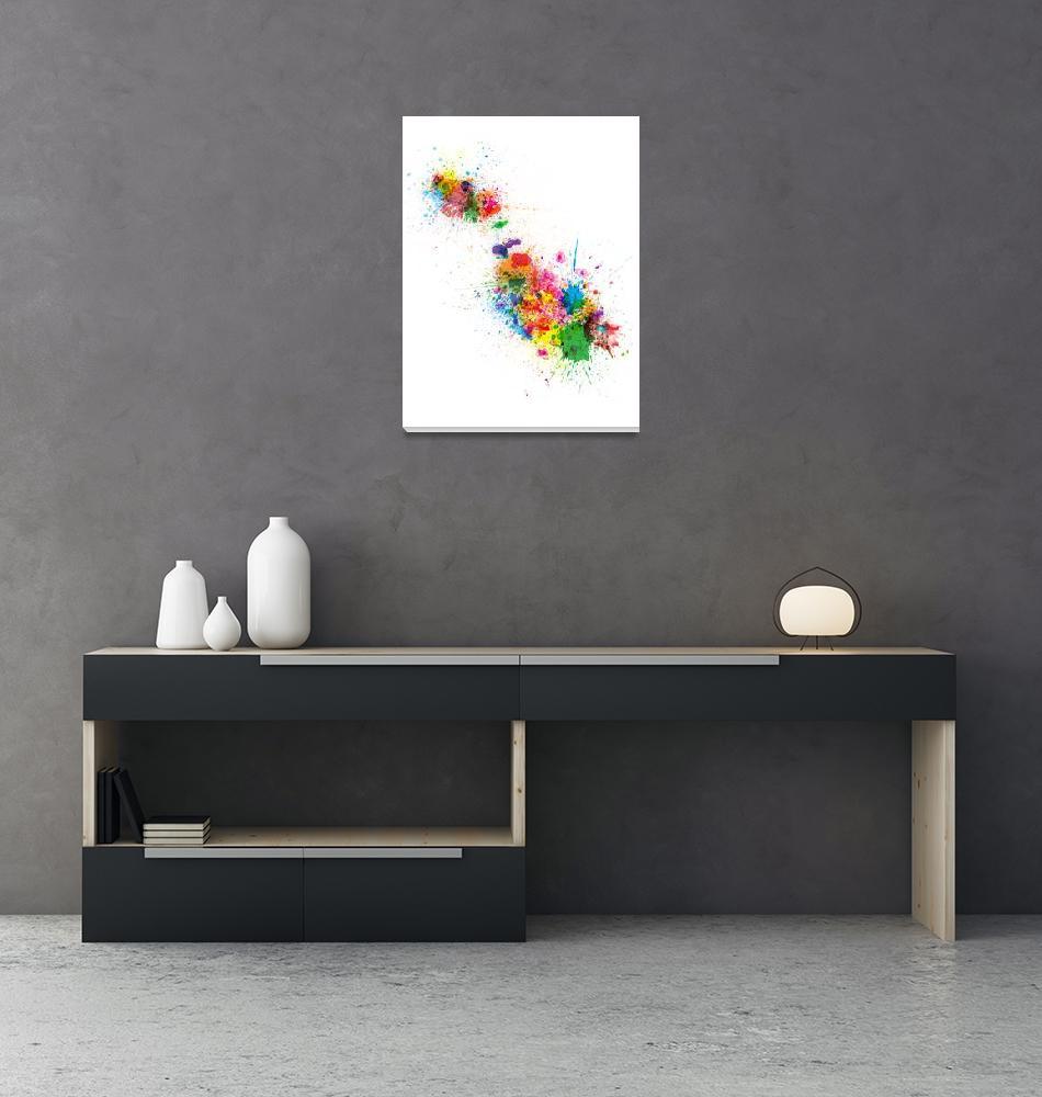 """Malta Map Paint Splashes""  (2014) by ModernArtPrints"