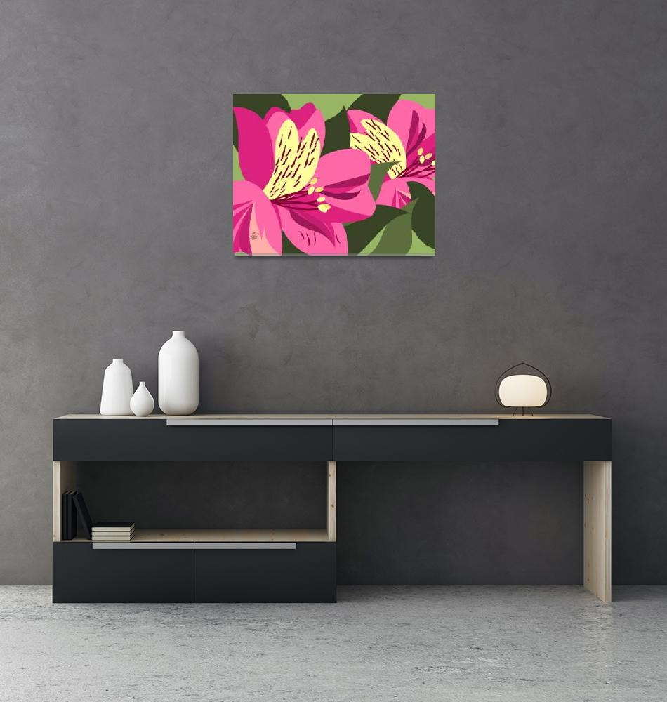 """Contemporary Alstroemeria Art""  by waterart"