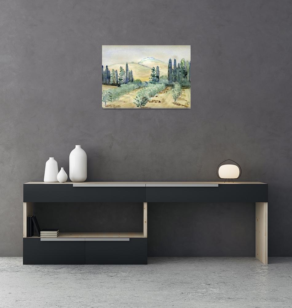 """Jerusalem hills Cypresses and Orchard""  (1940) by lacikam"
