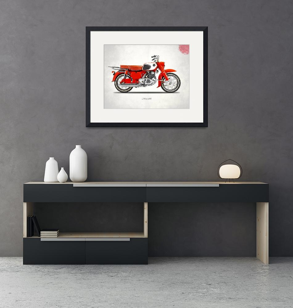 """The Honda Dream Classic Motorcycle""  by mark-rogan"
