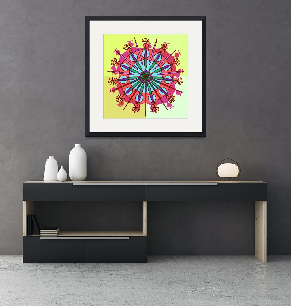 """""""Abstract Spiked Flower Wheel in Blue, Yellow, Pink""""  (2015) by FeamiHuX"""