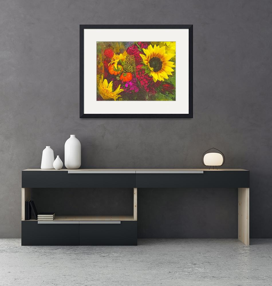 """""""Flowers of Fall - Sunflower and Baby Pumpkins""""  (2017) by MiriamDanar"""