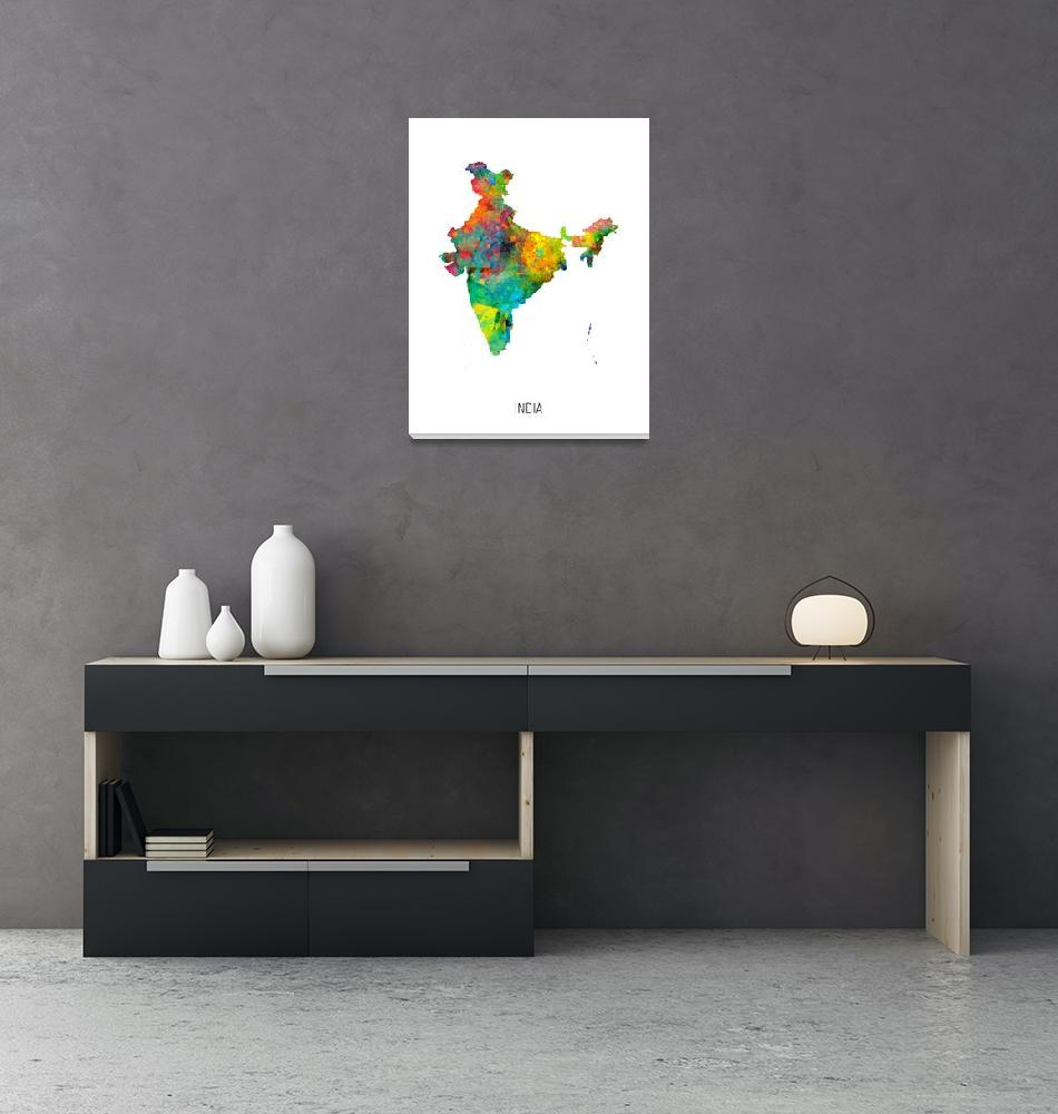 """India Watercolor Map""  (2019) by ModernArtPrints"