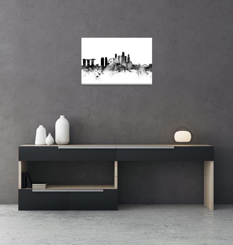 """Singapore Skyline""  (2015) by ModernArtPrints"