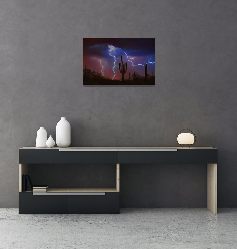 """Saguaro Lightning Strike Fine Art Photography""  (2008) by lightningman"