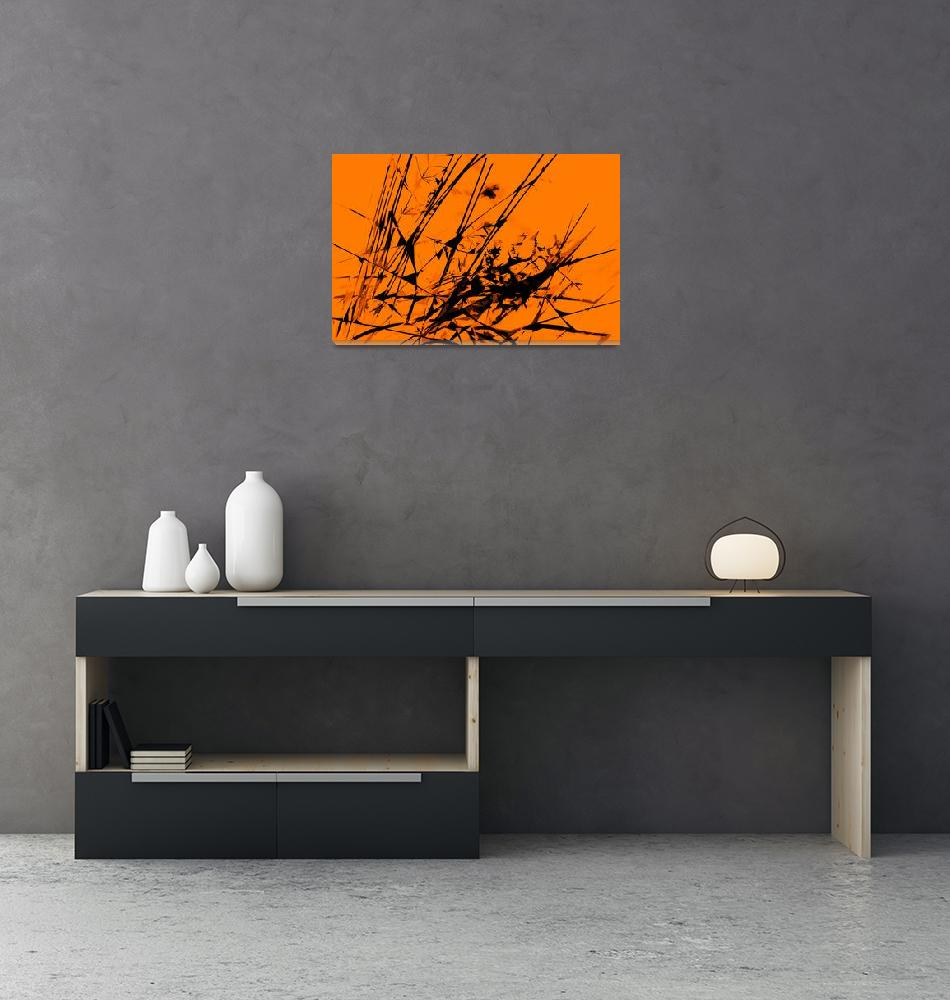 """""""Strike Out Orange and Black Abstract""""  (2012) by NatalieKinnear"""