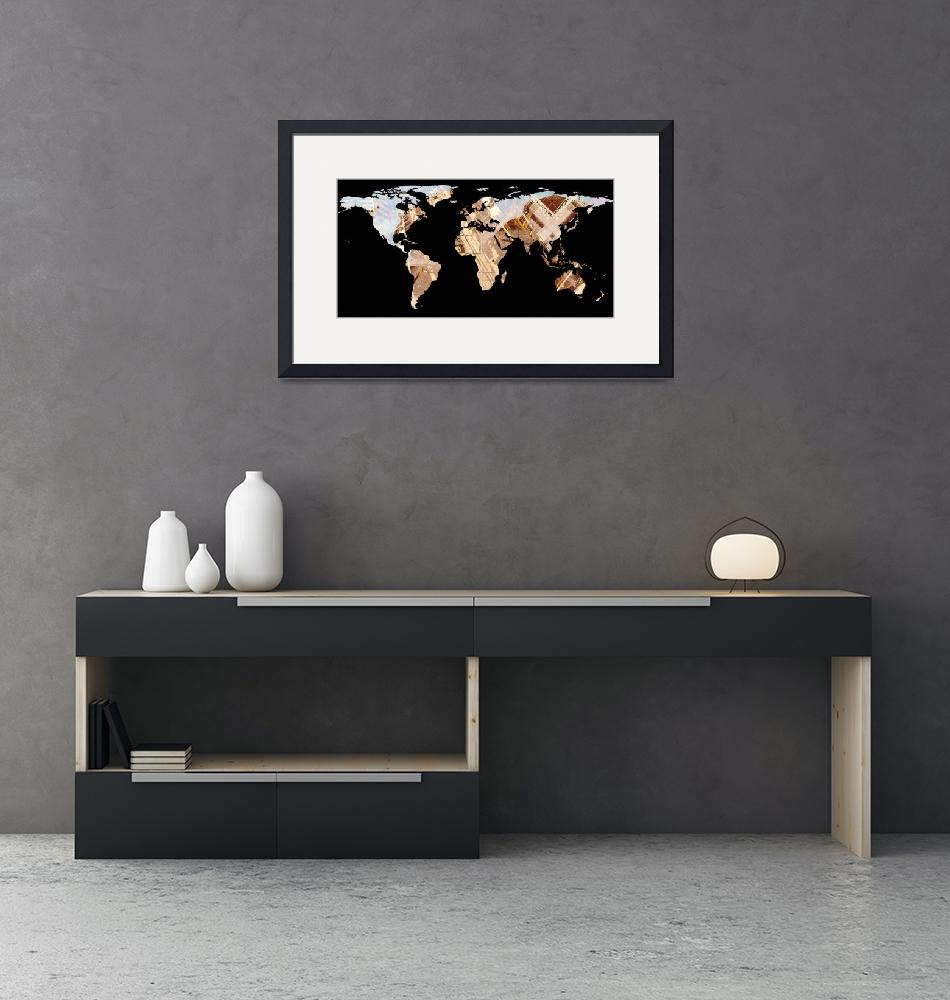 """""""World Map Silhouette - Abstract Photo-Mandala""""  by Alleycatshirts"""