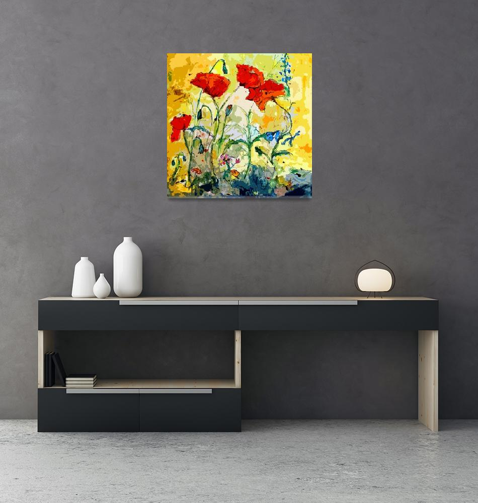 """Poppies Provencale Contemporary Decor Mixed Media""  (2012) by GinetteCallaway"