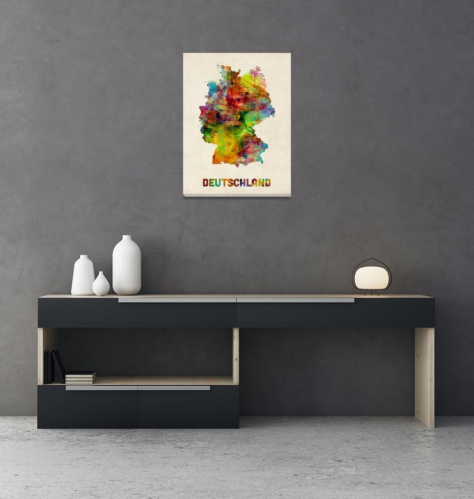 """Germany Watercolor Map (Deutschland)""  (2013) by ModernArtPrints"