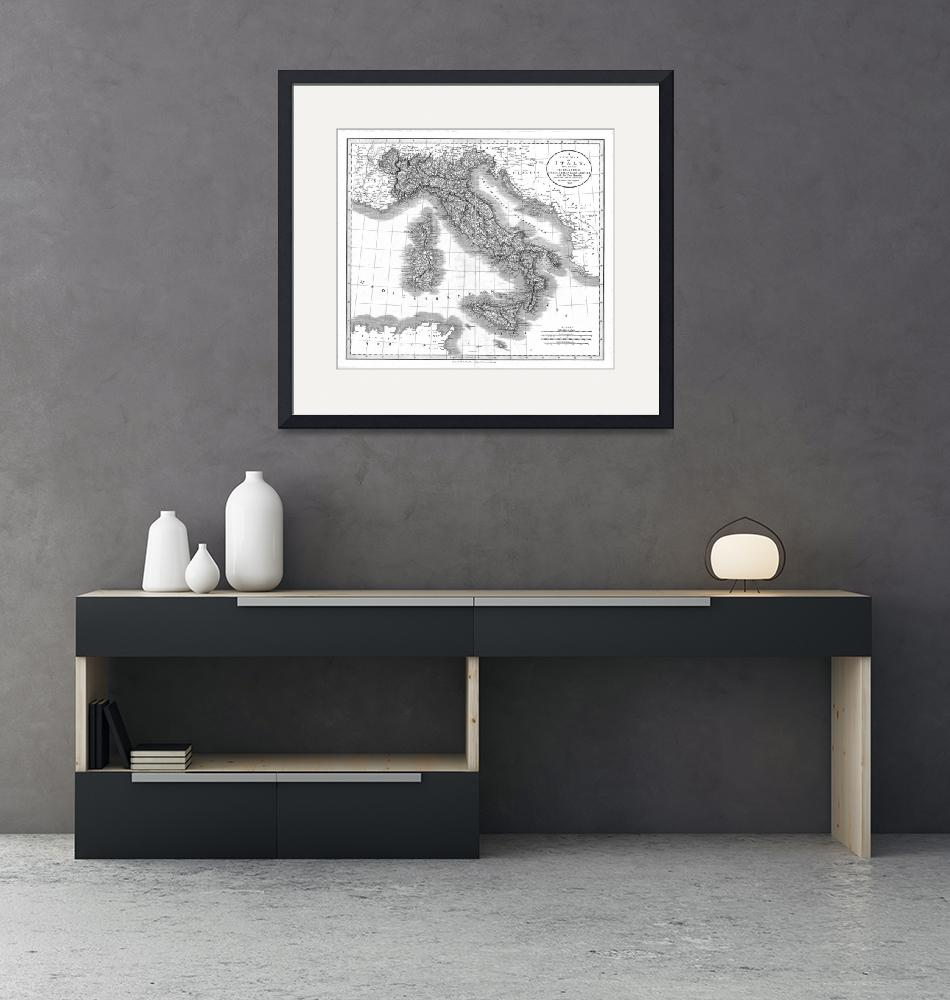 """""""Vintage Map of Italy (1799) BW""""  by Alleycatshirts"""