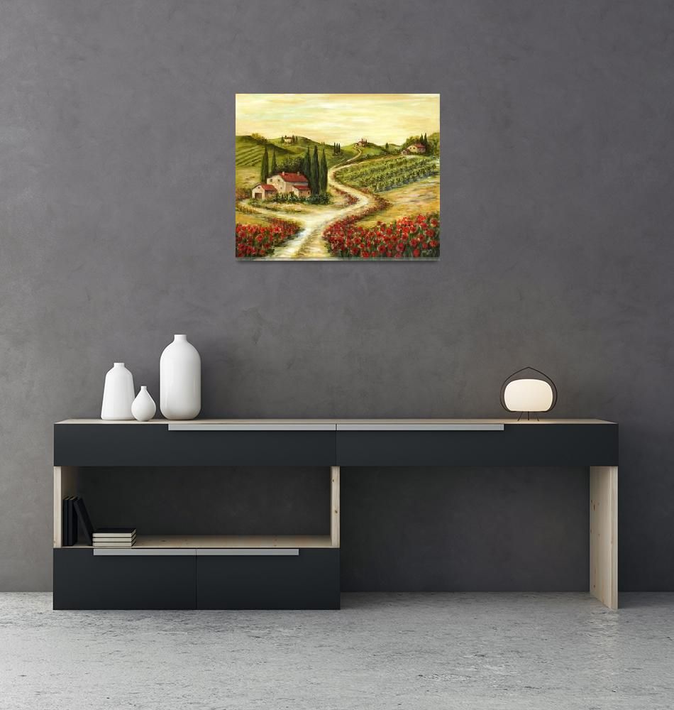 """""""Tuscan Road With Poppies""""  (2012) by marilyndunlap"""