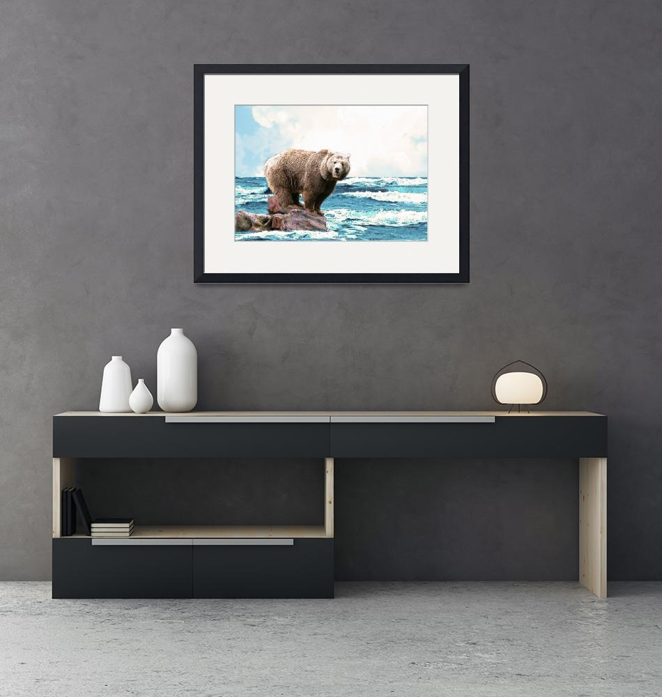 """""""Brown Bear in the Ocean""""  (2011) by theminionfactory"""