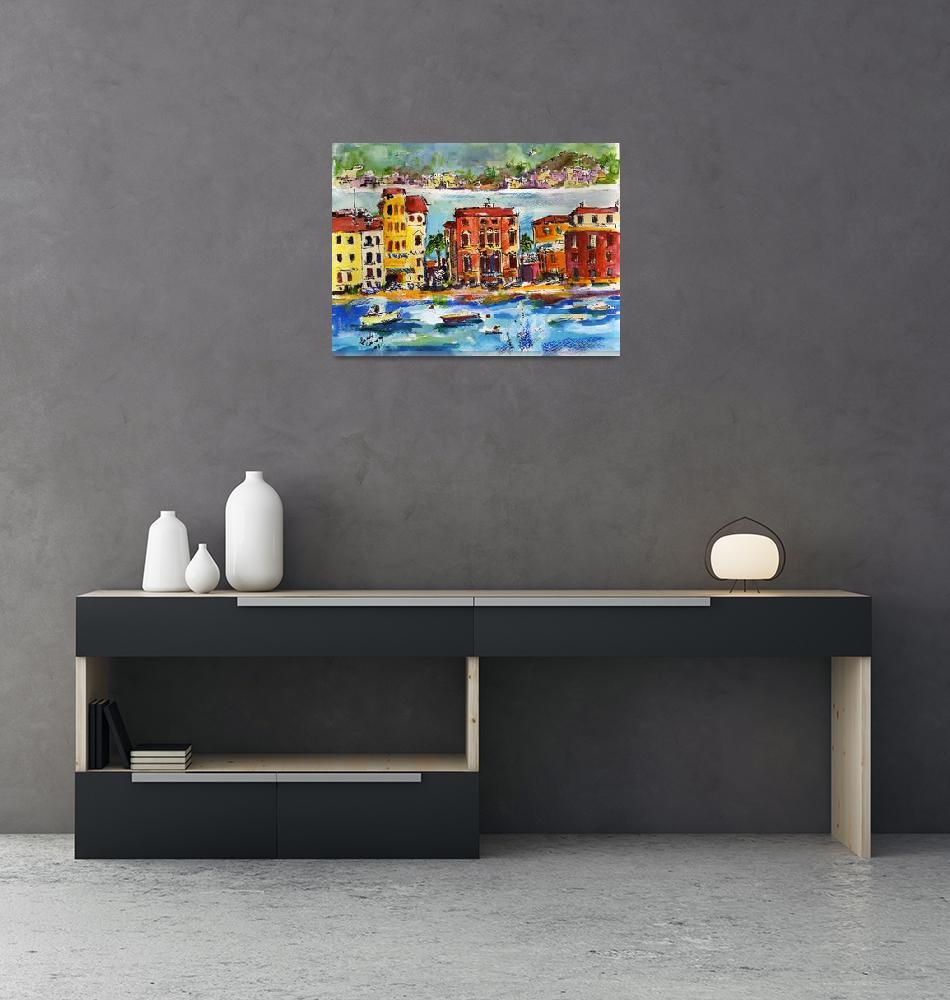 """Italian Riviera Sestri Levante Watercolor"" (2008) by GinetteCallaway"