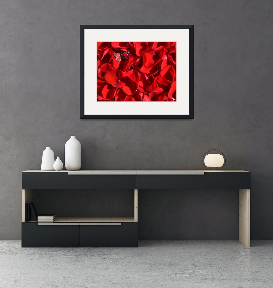 """""""Red rose petals and butterfly 2""""  (2010) by annav"""