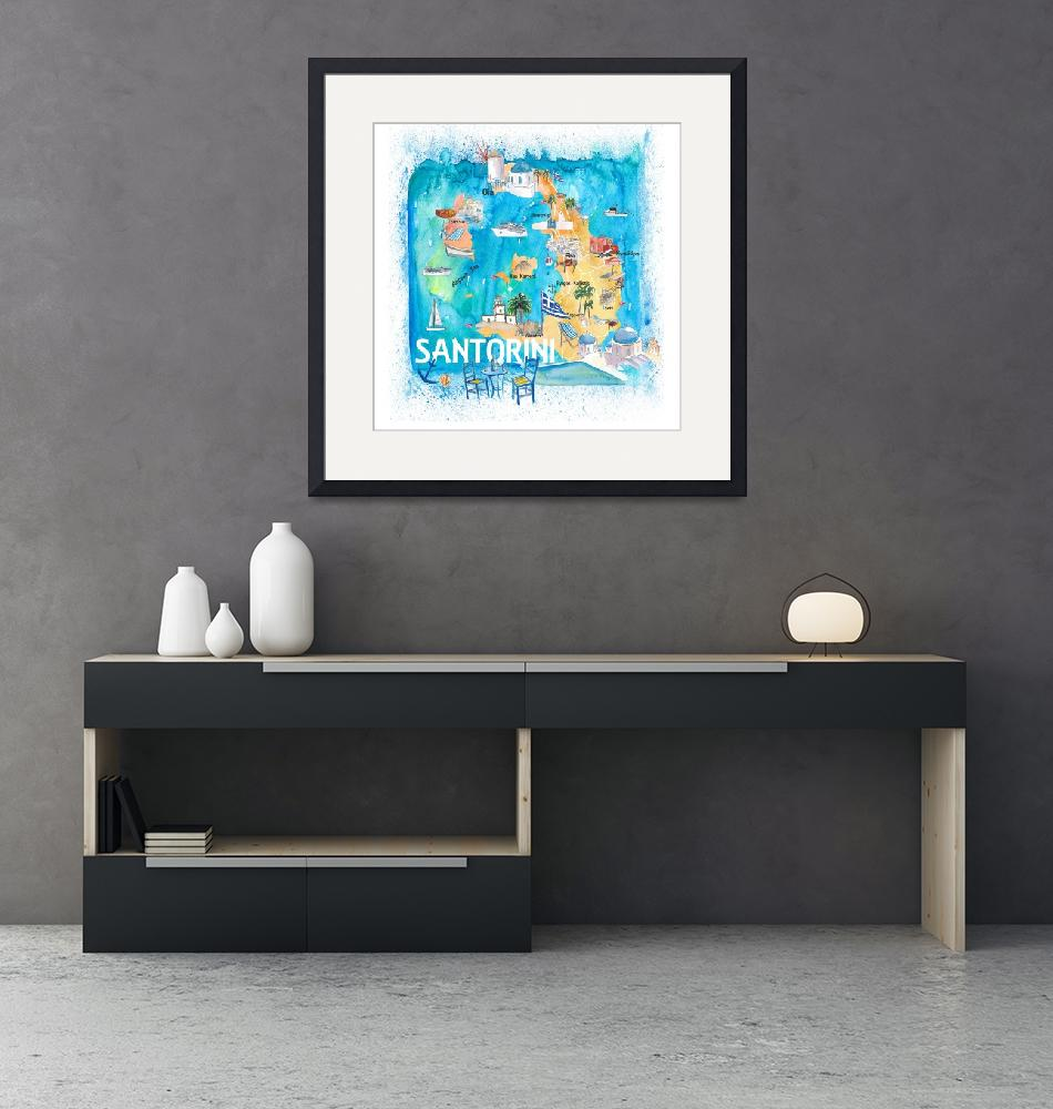 """""""Santorini Greece Illustrated Map with Main Roads L""""  (2020) by arthop77"""