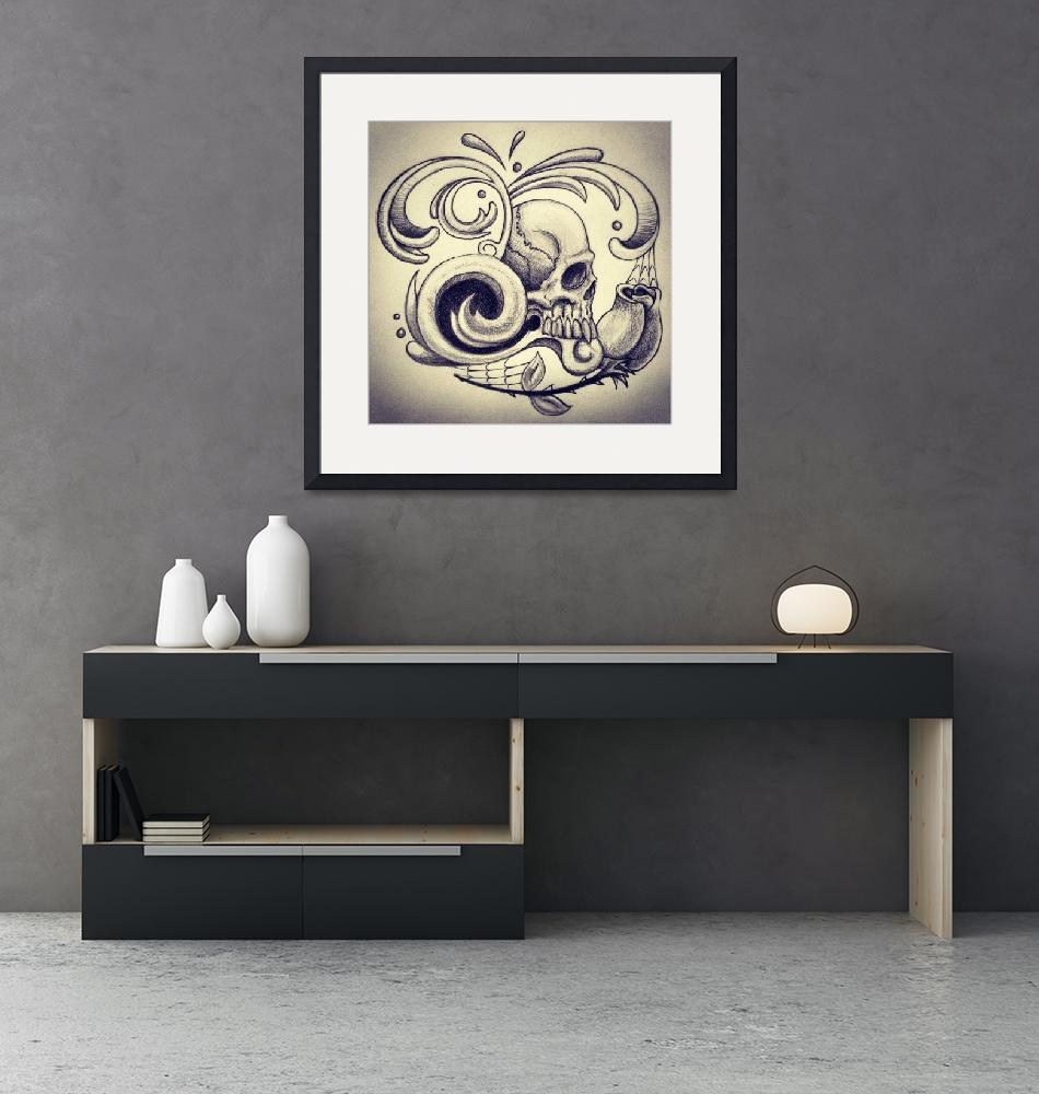 """Fancy Skull""  (2012) by ajkartworks"