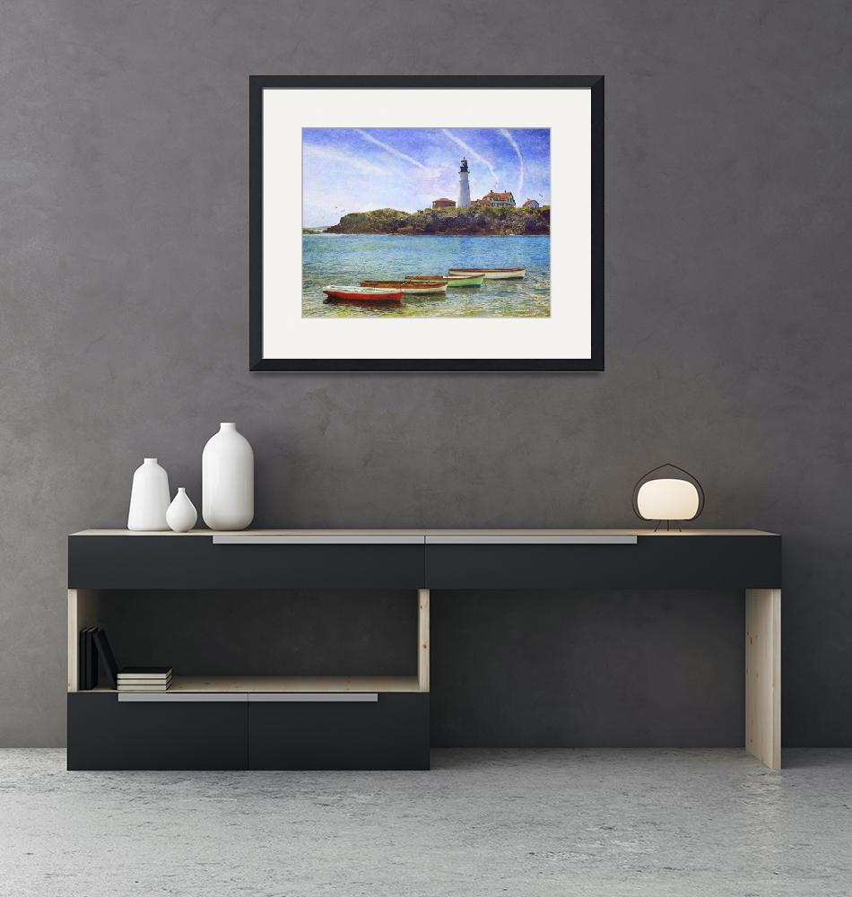"""""""portland head light with rowboats""""  (2019) by rchristophervest"""