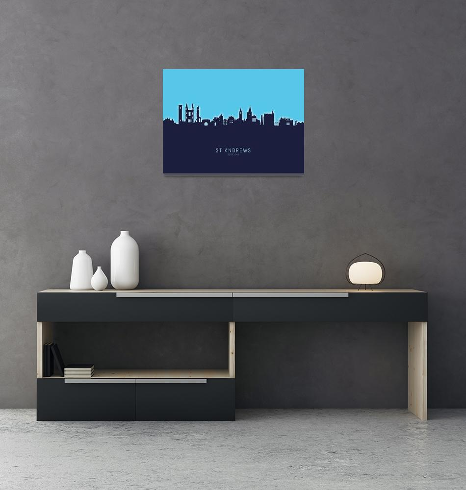 """St Andrews Scotland Skyline""  (2020) by ModernArtPrints"
