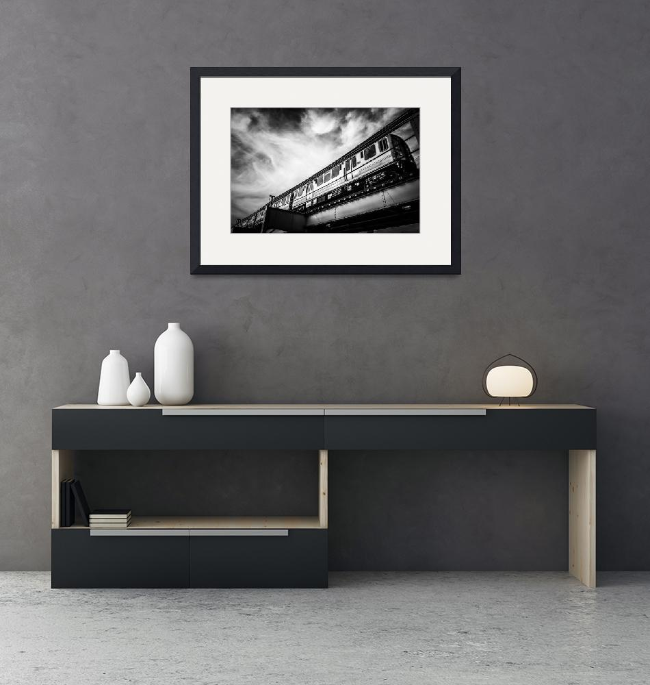 """""""Chicago L Elevated Train in Black and White""""  (2008) by PaulVelgos"""