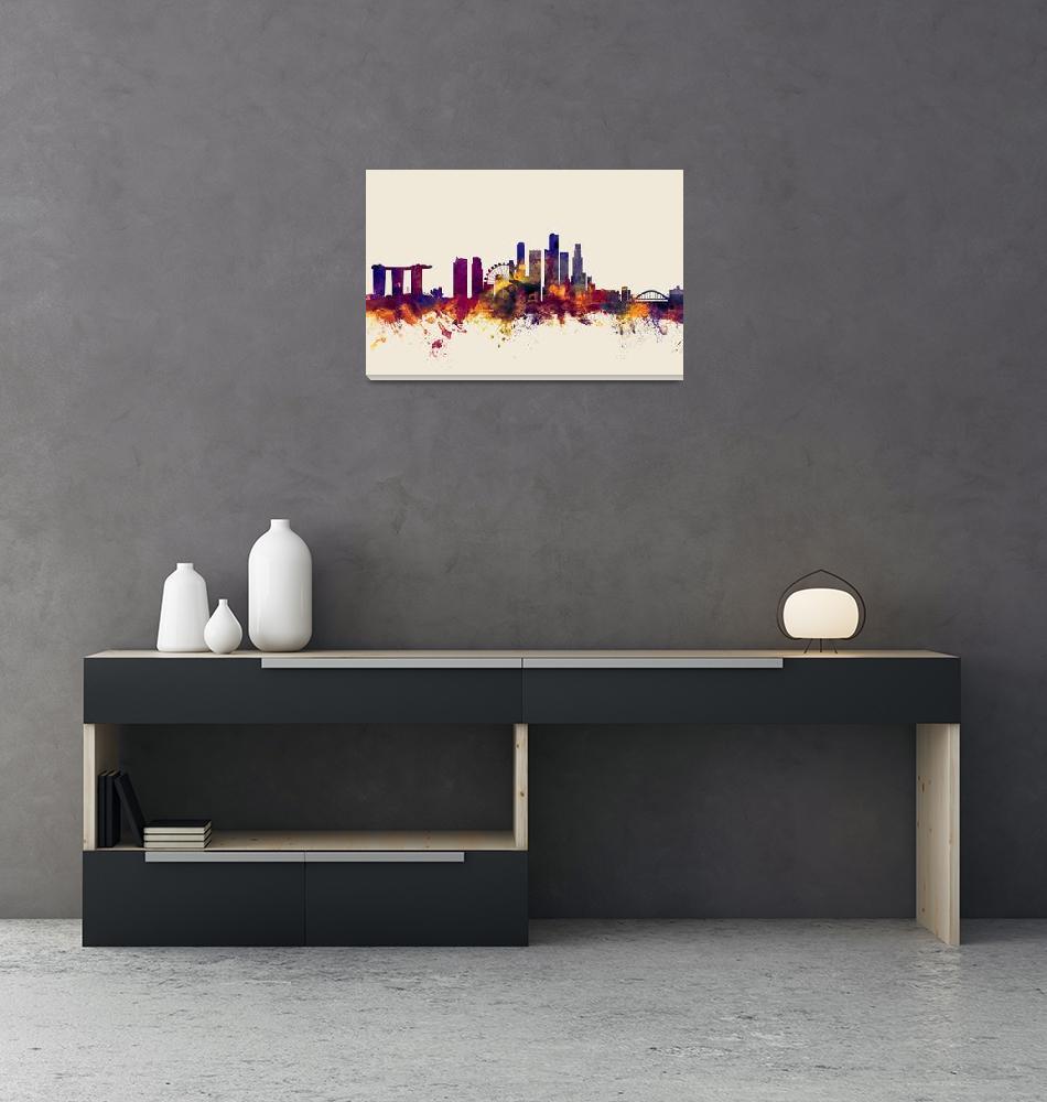 """Singapore Skyline""  (2016) by ModernArtPrints"