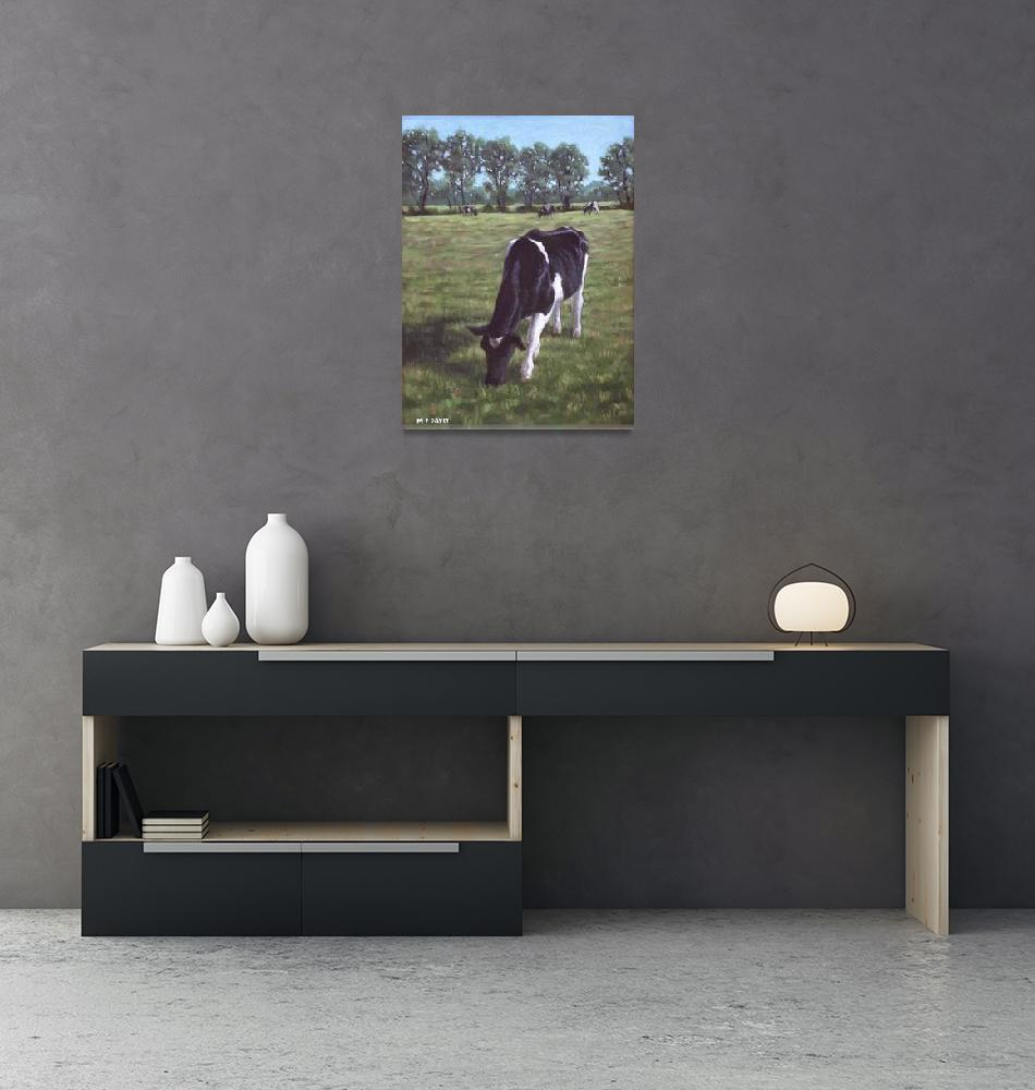 """Cow in field at Throop,UK""  (2011) by martindavey"