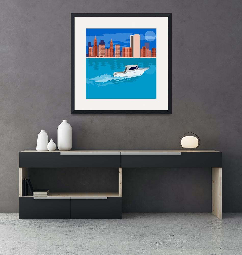 """""""Skyscrapers with speeding boat in the foreground""""  by DougLang"""