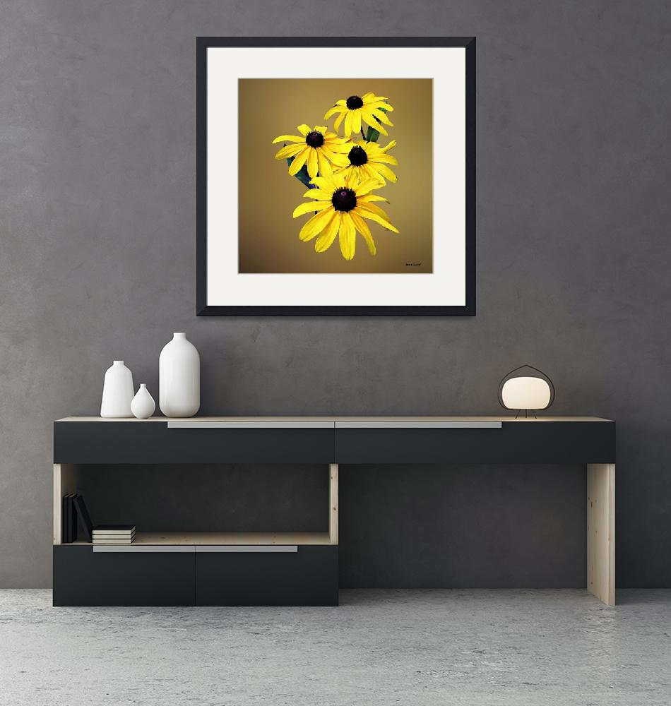 """""""Black-Eyed Susans in a Row""""  by susansartgallery"""