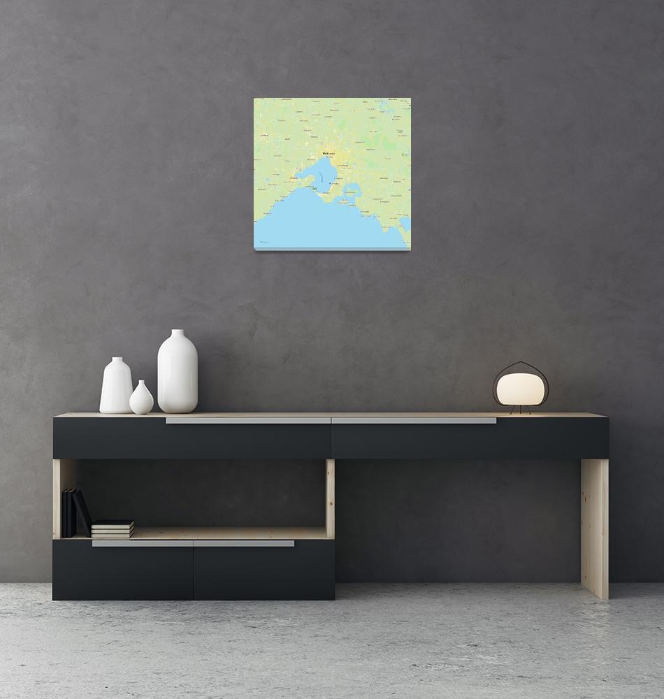 """Minimalist Modern Map of Melbourne, Australia 5""  by motionage"
