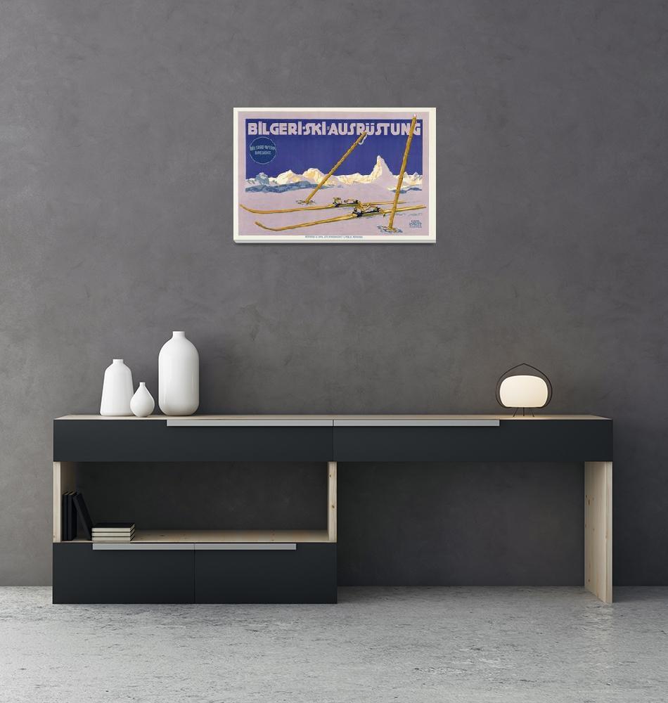 """Carl Kunst Ski Equipment Vintage Poster""  by FineArtClassics"