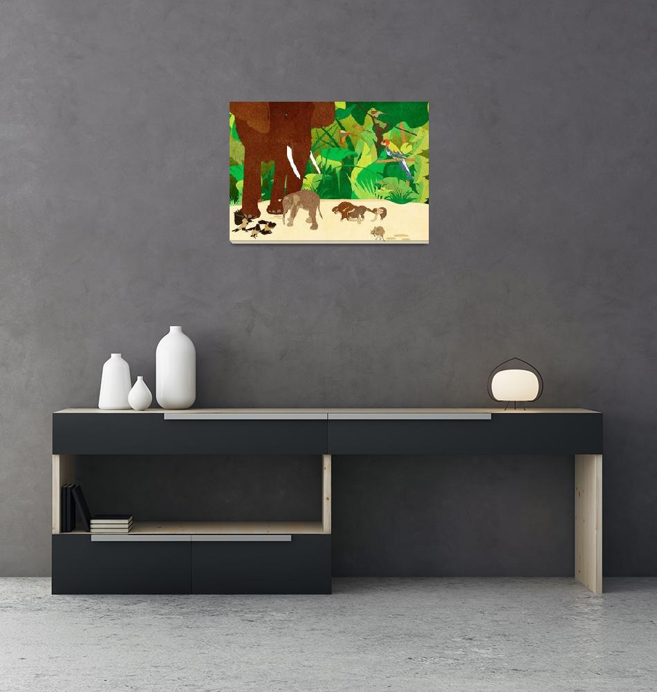 """""""Birth of an elephant in the jungle""""  by Design4uStudio"""