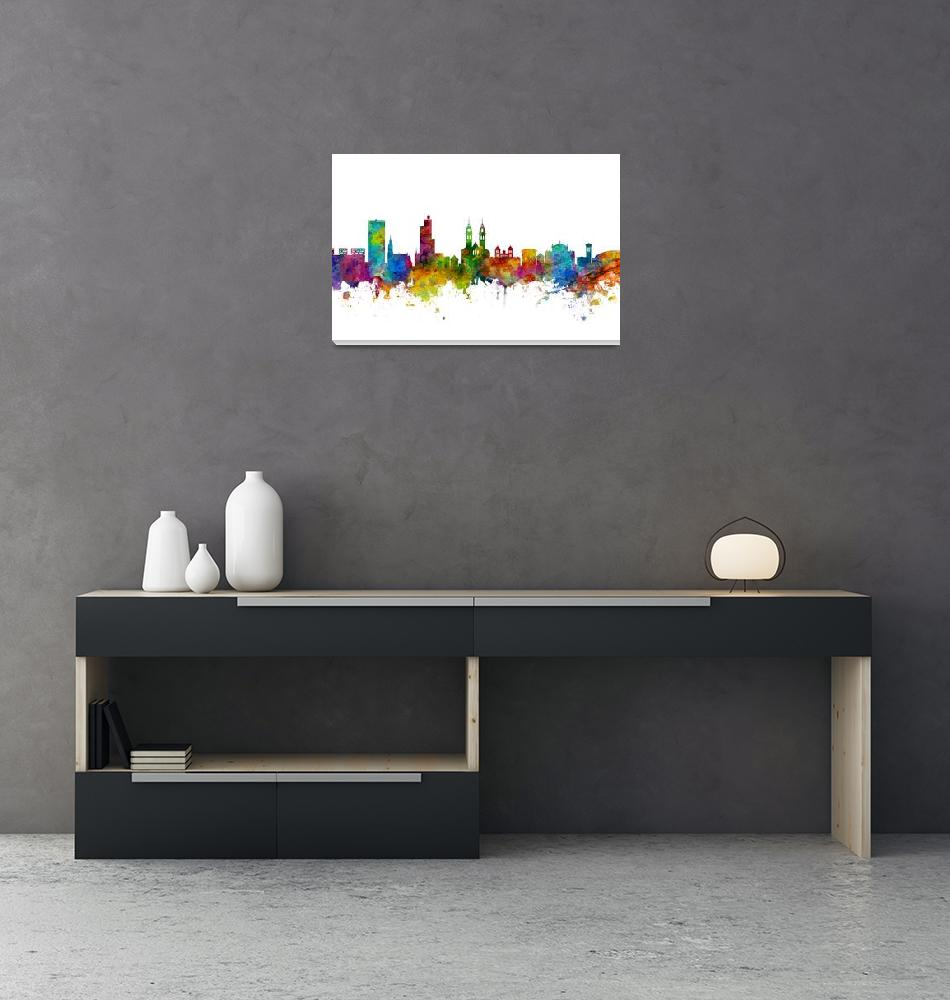 """Winterthur Switzerland Skyline""  (2017) by ModernArtPrints"