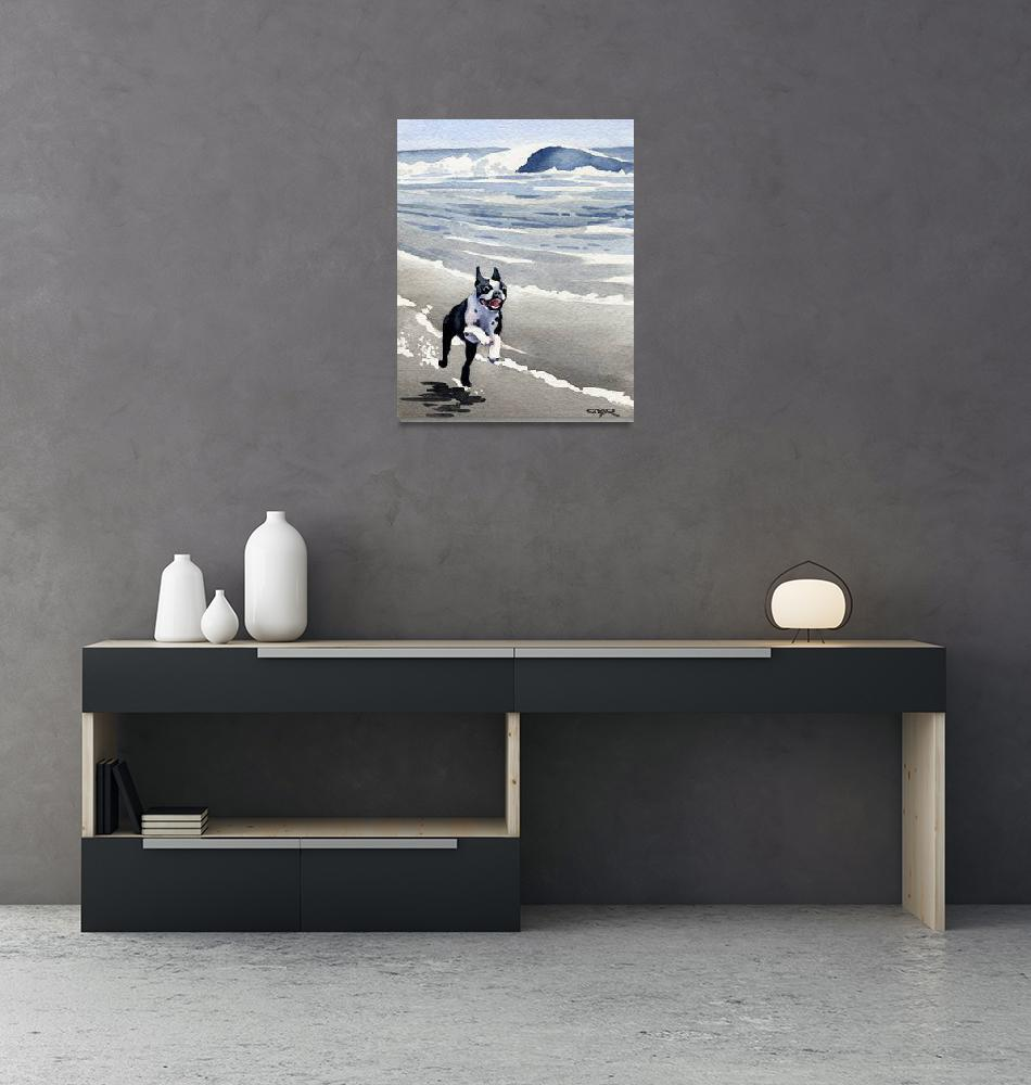 """Boston Terrier at the Beach Running""  (2015) by k9artgallery"
