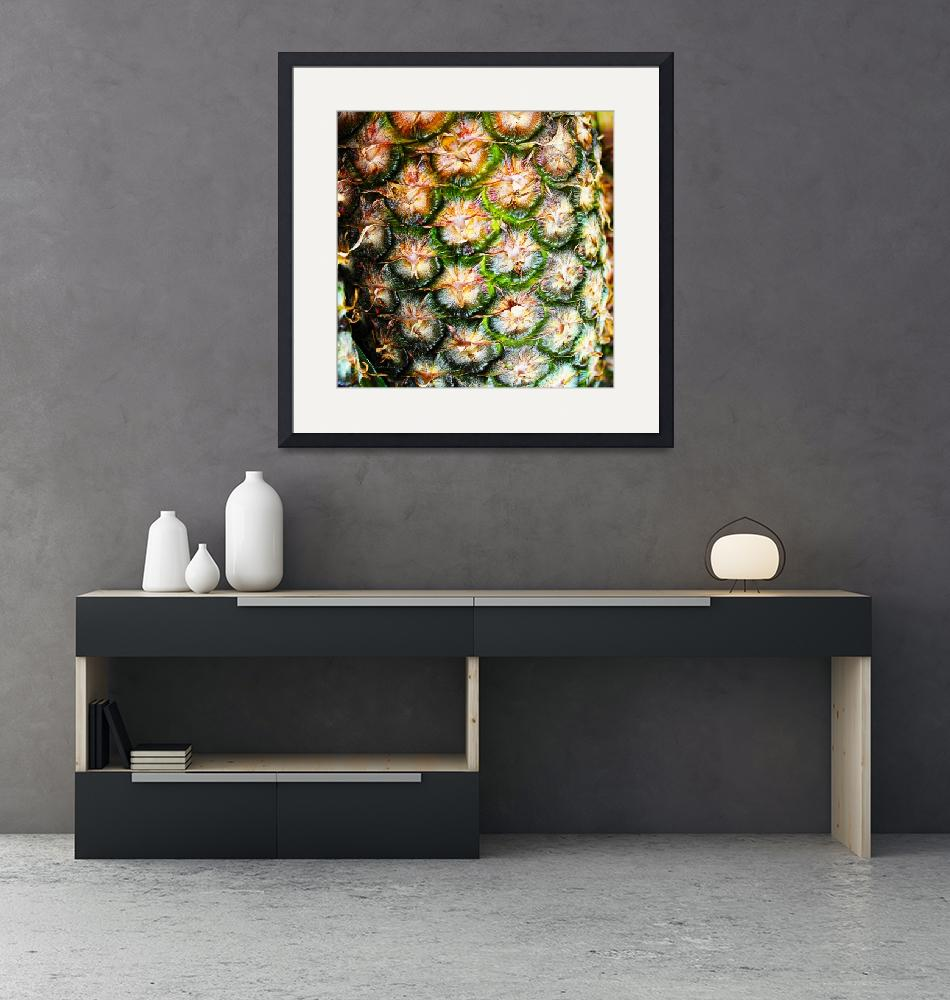 """""""Abstract Nature Tropical Pineapple A712078 Square""""  (2017) by Ricardos"""