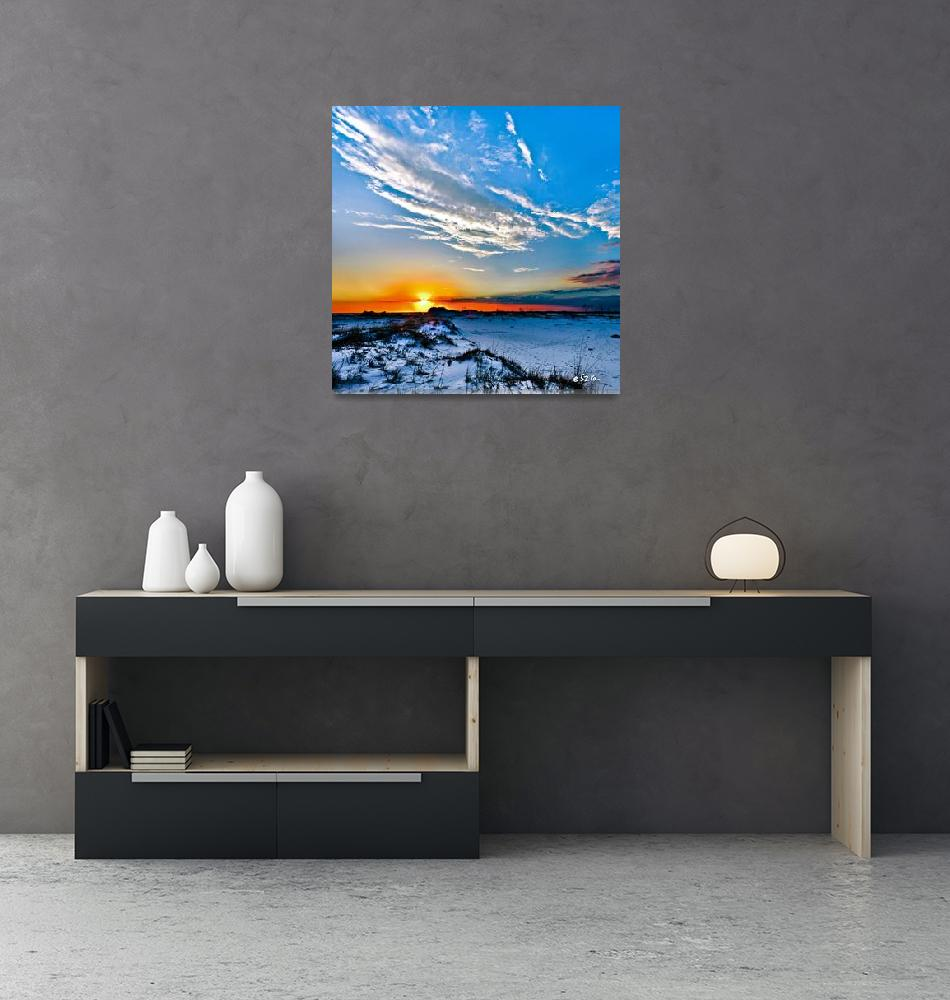"""Red Sun White Cloud Blue Sand Hills Landscape Art""  (2014) by eszra"