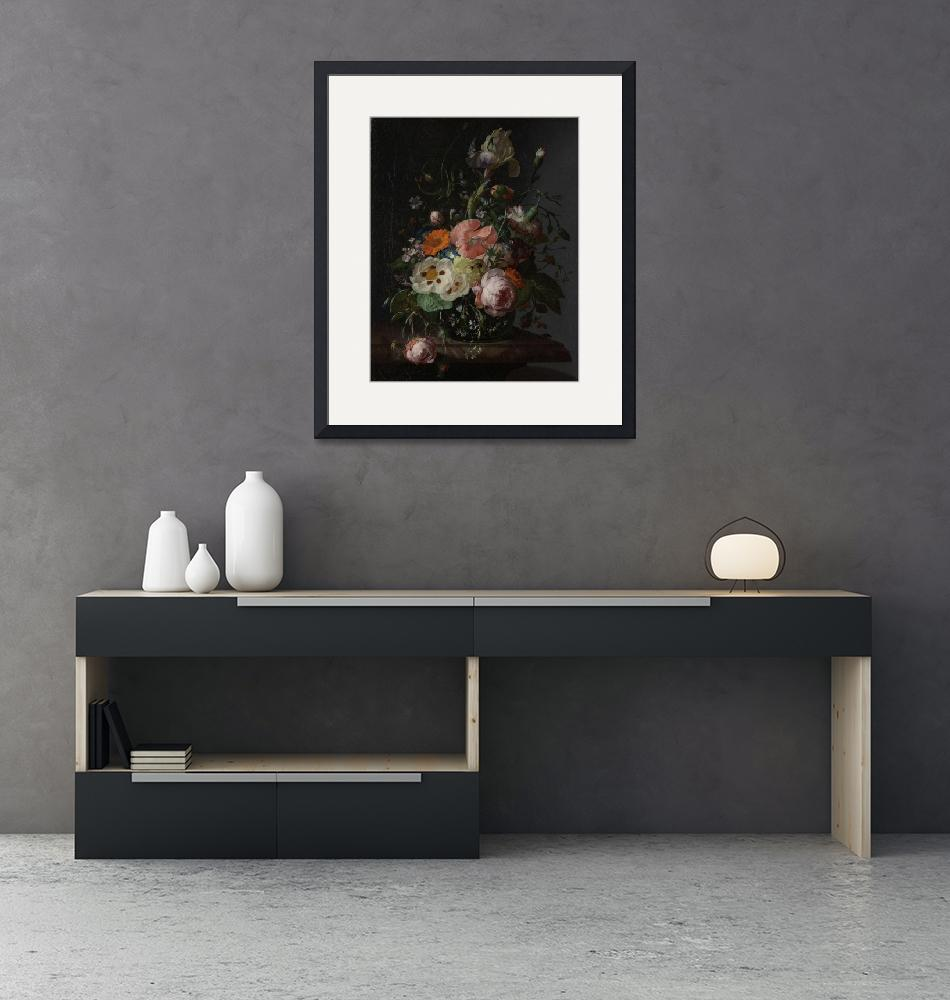 """""""Rachel Ruysch~Still Life with Flowers on a Marble""""  by Old_master"""