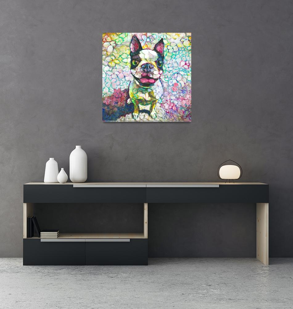 """Joy Flower Puppy Boston Terrier""  (2018) by RDRiccoboni"